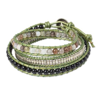 Hill Tribe Silver and Gemstone Handmade Wrap Bracelet
