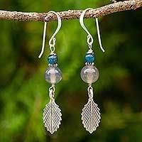Chalcedony and kyanite dangle earrings, 'Leaf Waltz' - Handcrafted Gemstone Earrings with Hill Tribe Silver