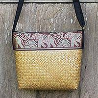 Cotton accent natural fiber shoulder bag, 'Brown Hill Tribe Elephants' - Thai Handwoven Cotton Accent Natural Fiber Shoulder Bag