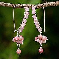 Rhodonite beaded earrings, 'Bohemian Pink' - Artisan Crafted Earrings with Rhodonite and Pink Quartz