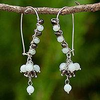 Amazonite and smoky quartz beaded earrings,