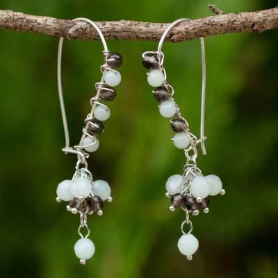 Amazonite and smoky quartz beaded earrings, 'Bohemian Taupe and Aqua' - Artisan Crafted Earrings with Amazonite and Smoky Quartz