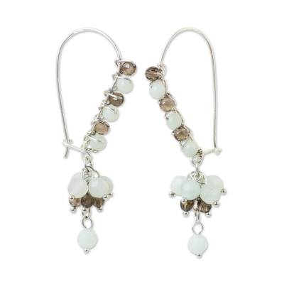 Artisan Crafted Earrings with Amazonite and Smoky Quartz