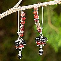 Jasper and onyx beaded earrings, 'Bohemian Brown' - Onyx and Reddish Brown Jasper on Sterling Silver Earrings