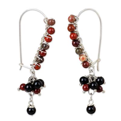 Onyx and Reddish Brown Jasper on Sterling Silver Earrings