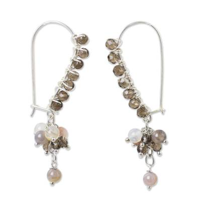 Smoky Quartz Sterling Silver Beaded Earrings with Agate