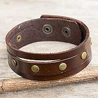 Men's leather wristband bracelet, 'Rustic Brown' - Thai Handmade Brown Leather Bracelet for Men