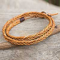 Men's leather wrap bracelet, 'Double Hug' - Golden Brown Leather Braid Wrap Bracelet for Men