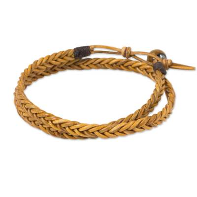 Golden Brown Leather Braid Wrap Bracelet for Men