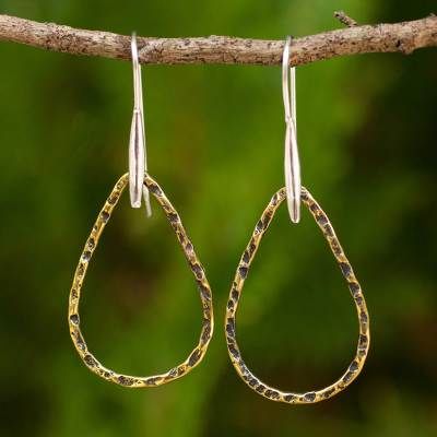 Gold plated dangle earrings, 'Rustic Chic Teardrops' - Gold Plated Sterling Silver Earrings Fair Trade Thai Jewelry