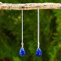 Lapis lazuli threader earrings, 'Sublime Water Lily' - Lapis Lazuli on Sterling Silver Earrings with Gold Accent