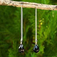 Onyx threader earrings, 'Sublime Water Lily' - Onyx on Sterling Silver Earrings with Gold Accent