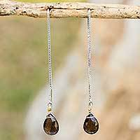 Smoky quartz threader earrings, 'Sublime Water Lily' - Sterling Silver with Smoky Quartz Threader Earrings