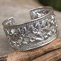 Sterling silver flower cuff bracelet,