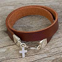 Leather and sterling silver wrap bracelet, 'His Love' - Thai Handcrafted Brown Leather Bracelet with a Silver Cross