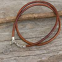 Leather and silver wrap bracelet,