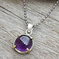 Amethyst pendant necklace, 'Bold Moon' - Amethyst on Sterling Silver Thai Necklace with Golden Accent