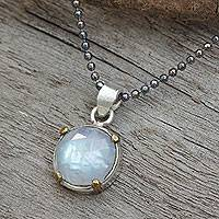Rainbow moonstone pendant necklace, 'Bold Moon' - Sterling Silver Rainbow Moonstone Thai Necklace