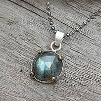 Labradorite pendant necklace, 'Bold Moon' - Gold Accent Handcrafted Labradorite and Silver 925 Necklace