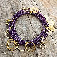 Gold plated amethyst wrap bracelet, 'Fabulous Femme' - Amethyst Wrap Bracelet with 24k Gold Plated Charms