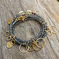 Gold plated labradorite wrap bracelet, 'Fabulous Femme' - Gold Plated Labradorite Wrap Charm Bracelet