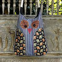 Cotton sling bag, 'Whimsical Blue Owl' - Owl Shaped Cotton Sling Bag with Elephants on Applique