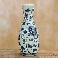 Celadon ceramic bud vase, 'Blooming Love' - Blue on Blue Thai Celadon Ceramic Floral Vase (6-inch)