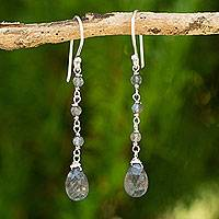 Labradorite dangle earrings, 'Lady'