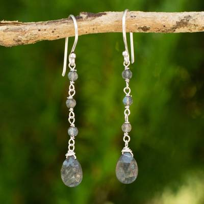 Labradorite dangle earrings, 'Lady' - Handmade Labradorite and Sterling Silver Dangle Earrings