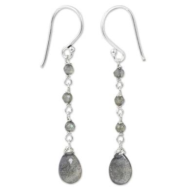 Handmade Labradorite and Sterling Silver Dangle Earrings