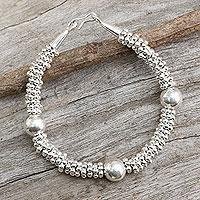 Silver beaded bracelet, 'Hill Tribe Enchantment' - Modern Silver Bracelet from Thai Hill Tribe Artisans