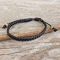 Men's braided leather bracelet, 'Single Black Braid'