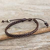 Men's braided leather bracelet, 'Single Brown Braid'