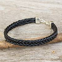 Braided leather bracelet, 'Assertive in Black' - Thai Black Leather Braided Bracelet with Silver Clasp