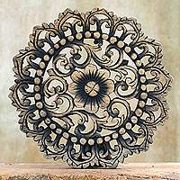 Teak relief panel, 'Chiang Mai Floral' - Floral Medallion Relief Panel Sculpture of Reclaimed Teak