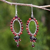 Jasper and onyx beaded earrings, 'Meadow Star' - Jasper and Onyx on Sterling Silver Earrings from Thailand