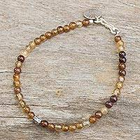 Agate beaded bracelet, 'Original Style' - Yellow Brown Agate Beads with Silver Charms Bracelet