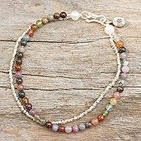 Jasper and cultured pearl beaded bracelet, 'Ethnic Fantasy' - Handmade Jasper Pearl and Hill Tribe Silver Bracelet