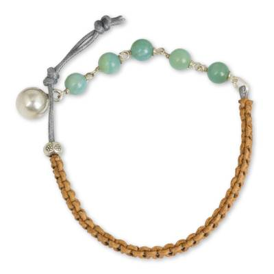 Amazonite and Silver on Leather Beaded Bracelet