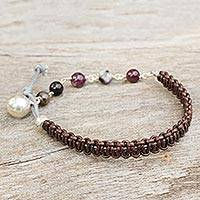Leather and tourmaline beaded bracelet, 'Fantasy Eclipse' - Leather Tourmaline and Silver Beaded Bracelet