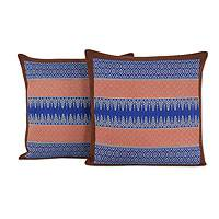Cotton cushion covers, 'Chiang Mai Allure' (pair) - Coral and Blue Handwoven Brocade Cushion Covers (Pair)