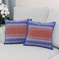 Cotton cushion covers, 'Chiang Rai Sky' (pair) - Red and Blue Thai Brocade Cotton Cushion Covers (Pair)