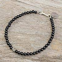 Onyx beaded bracelet, 'Original Style' - Bracelet of Onyx Beads with Silver Charms