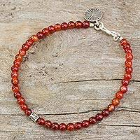 Carnelian beaded bracelet, 'Original Style' - Bracelet of Carnelian Beads with Silver Charms