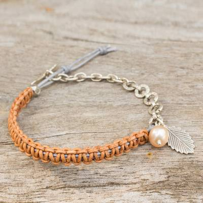 Cultured pearl and leather charm bracelet, 'Tan Forest Peach' - Hand Knotted Leather and Silver Bracelet with Cultured Pearl