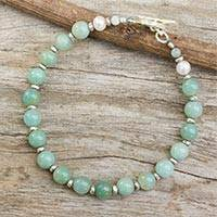 Amazonite and cultured pearl beaded bracelet,