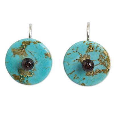 Garnet on Turquoise Color Calcite Hand Made Earrings