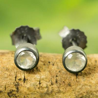 Moonstone stud earrings, 'Snow Glow' - Sterling Silver Stud Earrings with Faceted Moonstone