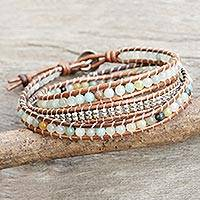 Amazonite wrap bracelet, 'Hill Tribe Explorer' - Leather Amazonite and Hill Tribe Silver Wrap Bracelet