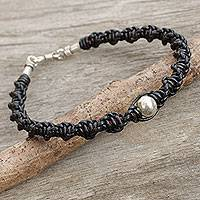 Men's leather and silver braided bracelet, 'Moon Helix in Black'